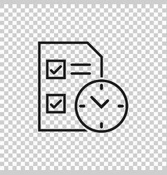 Contract time icon in flat style document with vector