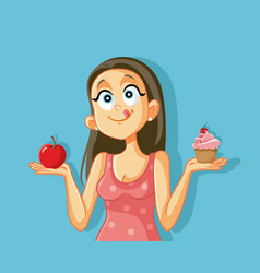 Craving girl choosing between apple and muffin vector