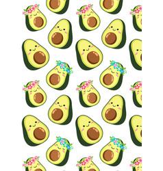 Cute cartoon avocado couple a boy and a girl vector