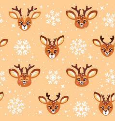cute cartoon deer seamless vector image