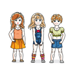 Cute happy little girls posing wearing casual vector