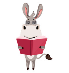 donkey with book on white background vector image