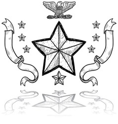 Doodle us military insignia army vector