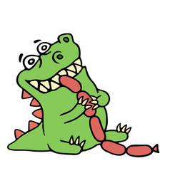 Dragon eats sausages isolated vector