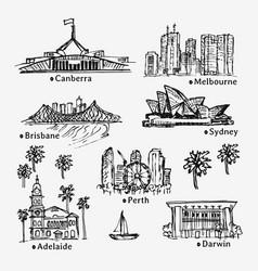 drawing australian cities sketch of city vector image
