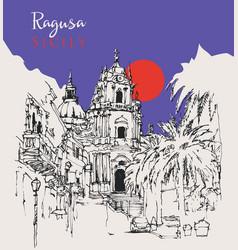 drawing sketch san giorgio church in ragusa vector image