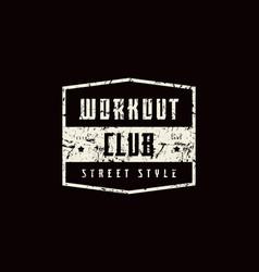 Emblem workout club vector