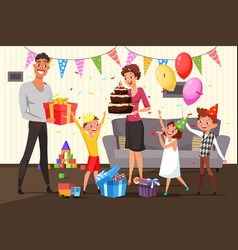 Family celebrating birthday at home vector