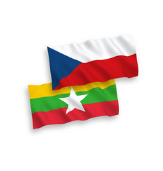 flags czech republic and myanmar on a white vector image
