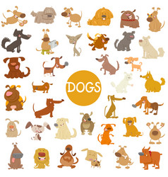 Funny dog characters big set vector