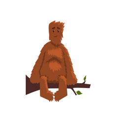 Funny friendly bigfoot sitting on tree branch vector