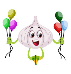 garlic with balloons on white background vector image