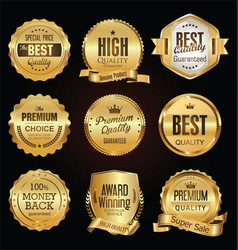Golden labels and badges collection vector