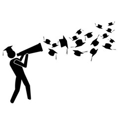 Graduate for success with megaphone vector
