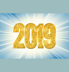 happy new year shiny gold number 2019 golden vector image