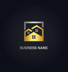 home realty business gold logo vector image