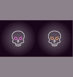 human neon skull in white color vector image