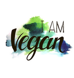 Inscription i am vegan vector
