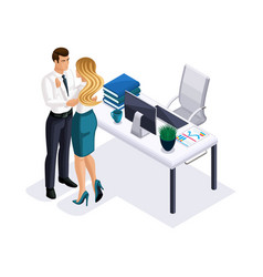 isometric business woman and businessman hugging vector image