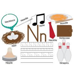 Letter n english alphabet education for children vector