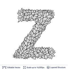 Letter z symbol of white leaves vector