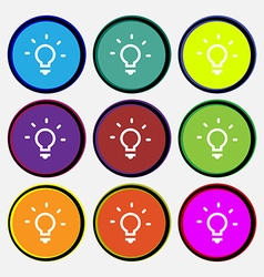Light lamp Idea icon sign Nine multi-colored round vector