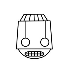 Line robot head technology with eyes and mouth vector