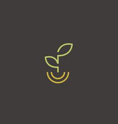 linear healthy food logo leaf smile plate vector image