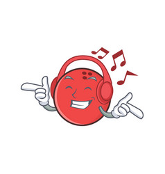 Listening music bowling ball character cartoon vector