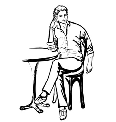 man sitting in cafe vector image