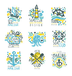 Marine club set for label design journey summer vector