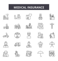 medical insurance line icons signs set vector image