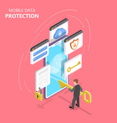 mobile data protection isometric flat vector image