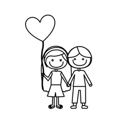 Monochrome contour of caricature of couple kids in vector