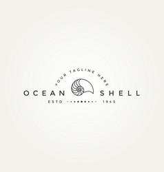Nautilus ocean minimalist line art badge logo vector