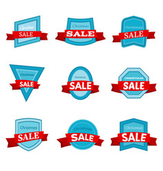 nine colorful christmas sale badges vector image