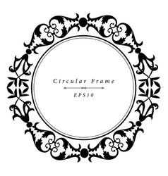 Ornamental antique frame in circular shape vector