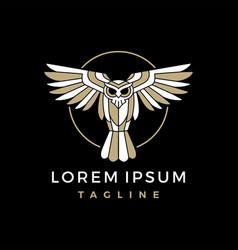 owl monoline logo icon vector image