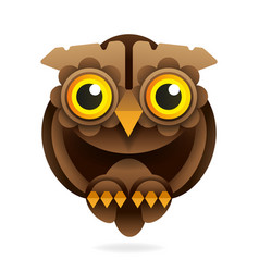 owl with big eyes on white vector image