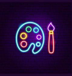 Painting neon label vector