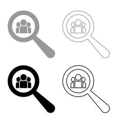 people search icon set grey black color vector image