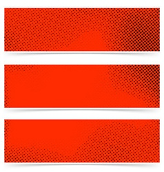 Pop art style dotted red banners collection vector image