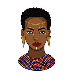 portrait an african princess isolated vector image