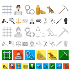 Prison and the criminal cartoon icons in set vector