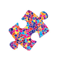 puzzle piece sign stained glass icon on vector image