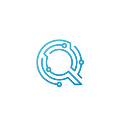 q letter tech initial logo icon line vector image