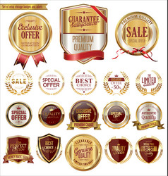 quality golden badges and labels collection vector image