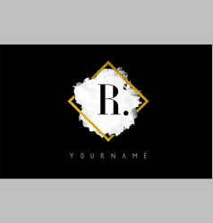r letter logo design with white stroke and golden vector image