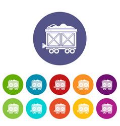 Railway wagon icons set color vector
