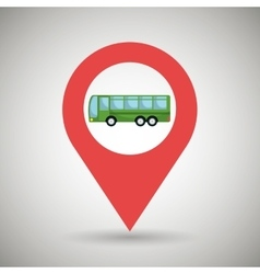 red signal of green bus isolated icon design vector image